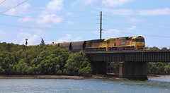 5021 and 5006 have just departed Kooragang Is on MB527H Aurizon coal (bukk05) Tags: 5021 railpage:class=130 railpage:loco=5021 rpaunsw5020class rpaunsw5020class5021 5006 5020class 5000class c44achi c40aci mb527h kooragang qrn qrnational world wagons water railway railroad railpage rp3 rail railwaystations railwaystation river train tracks tamron tamron16300 trains cityofnewcastle unitedgrouplimited photograph photo loco locomotive horsepower hp huntervalley hunter ge ge7fdl16 flickr freight diesel station standardgauge sg spring 2017 hunterriver australia artc aurizon aurizoncoal canon60d canon coal coaltrain nsw newsouthwales newcastle sandgate mainline