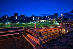 Bielefeld University at dusk (Jens Flachmann) Tags: bielefeld germany university building architecture e batis2818 dusk night colorful availablelight