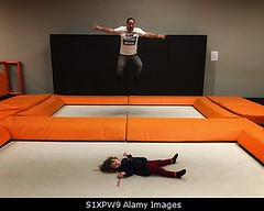 Photo accepted by Stockimo (vanya.bovajo) Tags: stockimo iphonegraphy iphone jumping trampoline park father daughter jump man family time fun funny indoor happy caucasian people men children girl child childrens parent