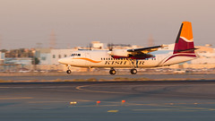 Kish Air Fokker 50. (spencer_wilmot) Tags: eplcf fk50 fokker arrival dusk sunset evening eveninglight dxb omdb dubai ramp runway orange prop propliner turboprop twin kishair dxbomdb propblur flight flying aviation civilaviation commercialaviation uae y9 kis y9kis هواپیماییکیش aircraft airplane airliner commuter regional airport airside apron approach ils landing narrowbody shorthaul plane taxiway