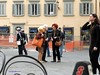 Piccola Storia Pratese in 3 atti (Chris Maroulakis) Tags: tuscany prato story threegirls meeting fujix30 chris maroulakis italia 2016 square little