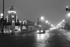 open lanes (KevinIrvineChi) Tags: waveland bowl western avenue ave av chicago curbedchicago streetlight lights fog foggy outdoors alley lanes street pavement monochrome monochromemonday manholecovermonday manhole cover iron metal blurry neon north side illinois cook county night cloudy misty sony dscrx100 bnw bw blackwhite blanc blackandwhite noir et blanca enter quiet zone one way signs stop light car auto mobilie mobile headlights shiny reflective
