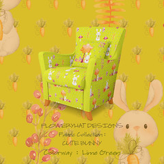 CUTE-BUNNY-Lime-Green-CHAIR-MOCKUP-2-by-FloweryHat (FLOWERYHAT DESIGNS) Tags: floweryhat spoonflower fabric textile fabrics family bunny rabbit hare lime green orange baby children childhood cute child trees flowers watercolor frames framed sewing stiching upholstery mockup interiors home sunny happy woodland chair armchair sitting sofa