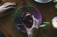 Woman hands holding Cupcake with fig and berries on Christmas table. View from top (Galina Zhigalova) Tags: cupcake cake pastry sweet cream chocolate dessert birthday pie woman hands holding breakfast fruit purple blueberry muffin background white berry cherry bakery homemade raspberry fig red food fresh tasty snack gourmet confectionery delicious holiday celebration party wooden table flowers serving greens top view closeup spoon plate vintage square tree christmas merry new year winter