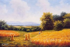 Wheat Sheaves at Harvest, Art Painting / Oil Painting For Sale - Arteet™ (arteetgallery) Tags: arteet oil paintings canvas art artwork fine arts landscape sky grass summer clouds meadow tree field sun season spring horizon environment cloud outdoors countryside natural forest yellow light rural scenery country orange park sunny scene trees autumn outdoor day agriculture color land heat wallpaper bright farm fields sunlight landscapes pastorals green paint