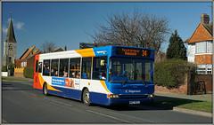 35256, Canterbury Road (Jason 87030) Tags: dennis dart canterburyroad 34 margate route service red white blue orange wheels kent bus church tree vehicle sony alpha a6000 ilce nex transport ndz3023 35256 publictransport thanet