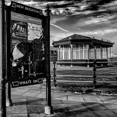 (see it, shoot it) Tags: newbrighton wirral monoconversion theatre billboard floralpavilion whatson shelter squarephoto bw