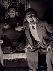 1952, Beirut: Papken and Jirayr... (maralina!) Tags: papken father dad papa jirayr jirayrmalikian friend friendship ami amitié amigo fun funny laughter light lighting clowningaround fousrires sepia bw blackandwhite noiretblanc monochrome vintage retro oldphoto familyalbum 1950s 1952 beirut lebanon