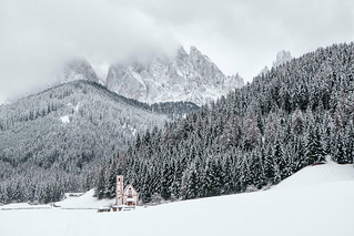 The Dolomites in winter mood (Italy - a Unesco world heritage site)
