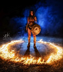 Fotocon 2017: Wonder Woman in the circle of fire. Clair De Lune Cosplay shot by SpirosK photography (SpirosK photography) Tags: fotocon2017 wonderwoman circleoffire clairdelunecosplay spiroskphotography dccomics clairdelune cosplay portrait photoshoot fotoconbytechland fire playingwithfire