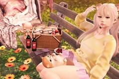 A Picnic sort of Spring (:-parfaitsprinkles-:) Tags: thesecretgarden secret garden hunt butterlies butterfly spring kurimukuma pinkrayne halfdeer sintiklia makoto maitreya catwa dustbunny artisanfantasy lush poses bench flower me second secondlife sl slife cute photoshop blog style