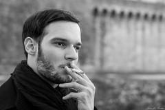 Portrait Y.LR (GreenChaudMan) Tags: homme monochrome noir blanc cigarette yeux regard man black white smoke eyes thought pensées writer écrivain poète
