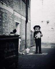IMG_7173 (Kathi Huidobro) Tags: urbanscene urban sinister creepy blackwhite bw monochrome london alleyway candid streetphotography alley badmickey mickeymouse