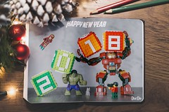 Happy new year 2018 Lego (ducdostudio) Tags: lego happy new year minifigures iron man hulk marvel super heroes