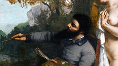 Courbet, The Studio, detail with self-portrait