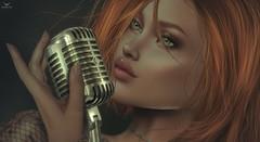 Cynnamon~Just let me sing... (Skip Staheli *FULLY BOOKED*) Tags: skipstaheli secondlife sl avatar virtualworld digitalpainting vintage singer music microphone redhead artist portrait cynnamon closeup