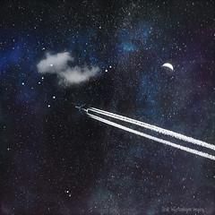 star traveller (Dyrk.Wyst) Tags: flugzeug stars galaxy universe space cloud dark night texture dreamy nachts blue textures fantasy contrails travel minimalism air plane