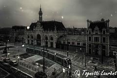La gare de Valenciennes (tognio62) Tags: gare valenciennes neige tramway place nord nuageux noiretblanc froid