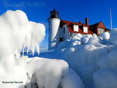 Dog Days of Winter (JamesEyeViewPhotography) Tags: pointbetsie lighthouse lake michigan water waves ice winter greatlakes sky northernmichigan landscape lakemichigan nature snow january jameseyeviewphotography