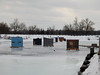 Ice fishing huts in the Galop Canal in Iroquois, Ontario (Ullysses) Tags: galopcanal iroquois ontario canada stlawrenceriver icefishing pêchesurlaglace