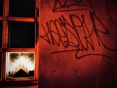 Reykjavik@Christmas (Aaron Paulson) Tags: reykjavik winter christmas iceland night window graffiti red creativecommons