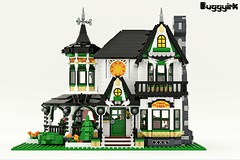 LEGO Ideas Victorian Dream Home - Exterior (buggyirk) Tags: building whimsical district creator house queen victorian modular buggyirk historic architecture historical home anne dream lego afol moc dark purple lavender lilac magenta city fireplace exterior garden turret tower gable finial stained glass window porch brick built stairs pillar flower tree bush ideas legodreamhome fantasy whimsy miniature cottage sky mecabricks