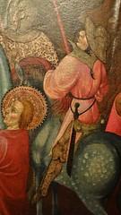 ca. 1425-1435 - 'Crucifixion' (Bernat Despuig & Jaume Cirera), Barcelona, Mullany Haute Epoque Fine art (London), BRAFA, Brussels, Belgium (RO EL (Roel Renmans)) Tags: 1425 1430 1435 crucifixion calvary calvaire kreuzigung kruisiging christus christ jesus jesu bernat despuig jaume cirera barcelona spanish catalan panel gothic painting brafa brussels bruxelles brussel armour armor rüstung kettle helmet barbuta barbute plate mullany haute epoque fine art london spain espagne gotique surcoat armadura hat chapel de fer fair helm armure feather bevor neckplate neck chin houppelande houppeland