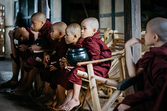 Young Men (Trent's Pics) Tags: beggingbowl monkline youngmen bagan begging boy boys buddha buddhist child lifestyle line monk monks myanmar offering people portrait rice spiritual village