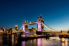 Colourful towers, on Tower Bridge. (The Frustrated Photog (Anthony) ADPphotography) Tags: architecture category england london longexposure nightscenes places riverthames towerbridge travel bridge travelphotography city capitalcity cityscape skyline towers lightsatnight nighttime evening dusk river water watercourse sky buildings structures landmarks canon1585mm canon70d canon uk unitedkingdom greatbritain outdoor reflections
