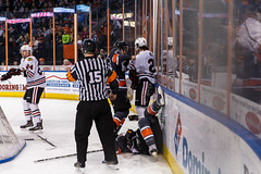 """Kansas City Mavericks vs. Indy Fuel, February 17, 2018, Silverstein Eye Centers Arena, Independence, Missouri.  Photo: © John Howe / Howe Creative Photography, all rights reserved 2018 • <a style=""""font-size:0.8em;"""" href=""""http://www.flickr.com/photos/134016632@N02/39490837605/"""" target=""""_blank"""">View on Flickr</a>"""