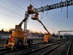 Electrification work at Pleck Junction (The Walsall Spotter) Tags: pleckjunction networkrail railwayengineering walsallwestmidlands overheadlineequipment thechaselineelectrification catenary