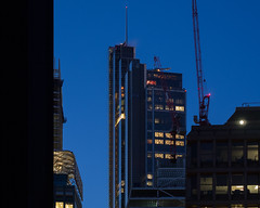 city blues (Cosimo Matteini) Tags: cosimomatteini ep5 olympus pen m43 mzuiko45mmf18 london city cityoflondon squaremile architecture building bluehour herontower crane evening cityblues
