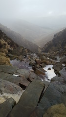 No crampons, no walking sticks, but sturdy boots made lite work of the icey in parts Grindsbrook Clough decent.. care Was Taken, and time.. (mikeupton433) Tags: thepeakdistrict jacobsladder thewoolpacks grindsbrookclough edale theramblersinn january2018 backinthehills countryside winter hillmistandfog