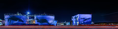 the art of darren greenwood panorama (pbo31) Tags: livermore california eastbay alamedacounty nikon d810 color black dark night boury pbo31 lightstream motion traffic roadway whales art mural darren greenwood watertreatment plant industrial giant ocean blue panoramic large stitched panorama red 2018 winter isabel tanks recycle