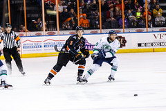 """Kansas City Mavericks vs. Florida Everblades, February 18, 2018, Silverstein Eye Centers Arena, Independence, Missouri.  Photo: © John Howe / Howe Creative Photography, all rights reserved 2018 • <a style=""""font-size:0.8em;"""" href=""""http://www.flickr.com/photos/134016632@N02/39676852484/"""" target=""""_blank"""">View on Flickr</a>"""