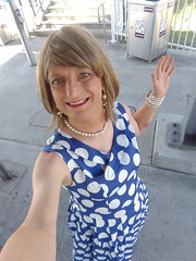 Polka Dots for Mardi Gras (justplainrachel) Tags: justplainrachel rachel cd tv crossdresser trans blue white polkadot dress frock retro selfie phone android selfportrait armslength transvestite