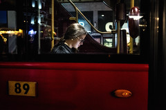 89 and Out (Hugh Rawson) Tags: urban england london street candid bus streetphotography city streetphotographer streetphotograph uk red