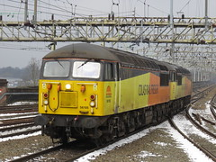 56105 & 56087 on Doncaster C.H.S.- Crewe Bas Hall S.S.M. at Stockport 03/03/2018 (37686) Tags: 56105 56087 doncaster chs crewe bas hall ssm stockport 03032018