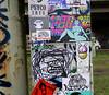 Happy Birthday GingerGunshot combo (wojofoto) Tags: stickercombo combo gingergunshot bunnybrigade amsterdam amsterdamsebrug flevopark streetart wojofoto wolfgangjosten wojo stickers stickerart sticker