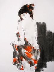 P1017822 (Gasheh) Tags: art painting drawing sketch portrait woman figure nude line pen color pastel 2018