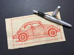 '68 Bug on a napkin (schunky_monkey) Tags: illustration art penandink ink pen napkinsketch napkin fountainpen drawing draw sketching sketch fun transportation automobile classiccar icon car beetle vwbug vw