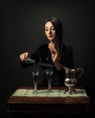 In the mood for love (Giulia Valente) Tags: portrait portraiture woman beauty beautiful alone cinematic cinema movie story romance romantic one light shadow dark beam darkness mood moody atmosphere low key dream inspiring potion poison venom villain painting