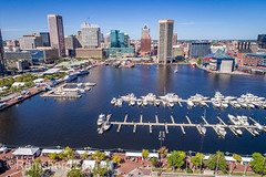 Aerial view of the Inner Harbor and Baltimore skyline featuring World Trade Center Baltimore, Baltimore, Maryland, (Remsberg Photos) Tags: event festival innerharbor outdoors aerial drone highangle worldtradecenterbaltimore baltimore harbor architecture modern urban urbanskyline waterfront outdoor boatsmoored citylife city tourism maryland usa
