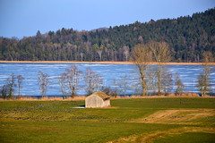 The frozen Waging lake (echumachenco) Tags: lake water ice frozen field grass tree forest wood shed path sky wagingersee upperbavaria oberbayern bavaria bayern germany deutschland nikond3100 landscape outdoor cold winter february