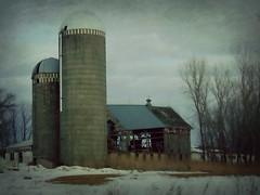 See through barn. HSS (novice09) Tags: slidersunday hss barn farm silos fotosketcher ipiccy winter snow textures