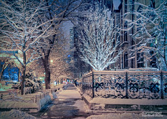 West Schiller (Peeblespair) Tags: peeblespairphotography raeofgoldstudios winterscene chicago goldcoast snowy snow wintercity nightphotography blue aqua nightlights winterglow