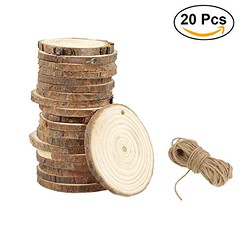 ULTNICE 20Pcs Wood Log Slices Discs Wood Pieces DIY Craft Wedding 9-10CM with Jute Twine - DiZiWoods Store (diziwoods) Tags: 20pcs 910cm craft discs diy diziwoods jute log pieces slices store twine ultnice wedding wood