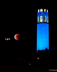Super blood blue moon (davidyuweb) Tags: super blue moon blood coittower air plane sanfrancisco sfist luckysnapshot