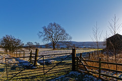 Frozen Gate (scottprice16) Tags: england lancashire clitheroe ribblevalley salthills farm gate winter february 2018 snow frost sun blue pendlehill trees bare fence landscape view colour canon canoneos7d sigma 1750mmf28