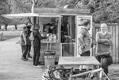 Lycra 0, Knitwear 1 (Wendy G Davies) Tags: autumn knitwear lycra park cyclist café